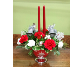Silver Bells Centerpiece in Raleigh NC, Gingerbread House Florist - Raleigh NC