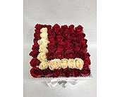 Bed of Roses with initial in Staten Island NY, Eltingville Florist Inc.