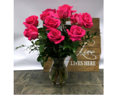 One Dozen Hot Pink in Belleville ON, Live, Love and Laugh Flowers, Antiques and Gifts