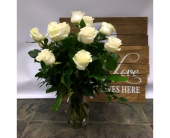 One Dozen WHITE in Belleville ON, Live, Love and Laugh Flowers, Antiques and Gifts