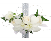 White Orchid and White Rose Corsage in Madison WI, Felly's Flowers