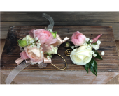 Blush & White Corsage and Bout. Set in Smyrna GA, Floral Creations Florist