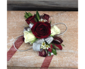 Burgundy, Silver & Ivory Corsage in Smyrna GA, Floral Creations Florist