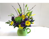 Green Ceramic Pitcher in Worcester MA, Holmes Shusas Florists, Inc