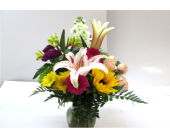 Lily and Sunflower Garden Vase in Worcester MA, Holmes Shusas Florists, Inc