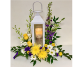 White Manhattan Lantern with White Orchids in Wyoming MI, Wyoming Stuyvesant Floral
