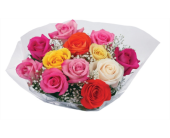 DV Bq Doz Mixed Colored Roses Wrapped Bouquet in Hudson NH, Anne's Florals & Gifts