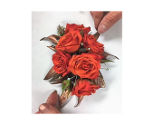 Coral and Copper Corsage in Clearwater, Florida, Hassell Florist