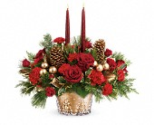 Teleflora's Festive Glow Centerpiece in Fredericton NB, Flowers for Canada