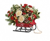 Teleflora's Joyful Sleigh Bouquet in Dallas TX, Petals & Stems Florist