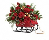 Teleflora's Vintage Sleigh Bouquet in St. Petersburg FL, The Flower Centre of St. Petersburg