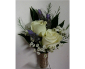 White Spray Rose and Lavender Boutonniere in Watertown, Wisconsin, Draeger's Floral