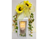 Lantern w/Sunflowers and Beautiful Memories Candle in Wyoming MI, Wyoming Stuyvesant Floral