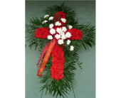 Red Carnation Cross with White Carnation Break in Islip NY, Flowers by Chazz