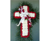 Mum Cross with Red Carnations & Rose/Orchid Break in Islip NY, Flowers by Chazz
