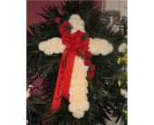 White Mum Cross with Red Carnation Break in Islip NY, Flowers by Chazz