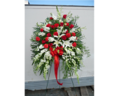 Standing Spray- Red&White in Islip NY, Flowers by Chazz