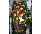 Standing Spray- Orange, purple, yellow and pink in Islip NY, Flowers by Chazz