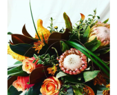 Modern Fall- protea, roses & gourds in Swift Current SK, Smart Flowers