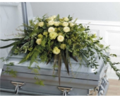 Green Foliage Casket Piece in Ammon ID, Petal Passion