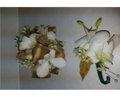 Gold with White Orchids Wristlet or corsage in Redding CA, Redding Florist