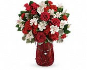 Teleflora's Red Haute Bouquet in Elkland PA, The Rainbow Rose