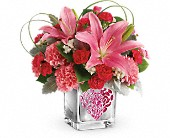 Teleflora's Jeweled Heart Bouquet in San Jose CA, Rosies & Posies Downtown