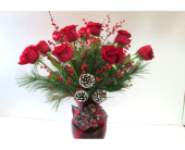 Christmas Rose Vase in Worcester MA, Holmes Shusas Florists, Inc