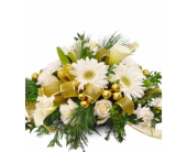 White & Gold Holiday Centerpiece in Savannah GA, John Wolf Florist