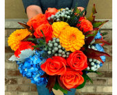 Orange Blue Grey Bridal Bouquet in Schofield, Wisconsin, Krueger Floral and Gifts
