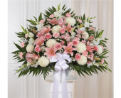 Pink & White Sympathy Standing Basket in Pittsburgh, Pennsylvania, Eiseltown Flowers & Gifts