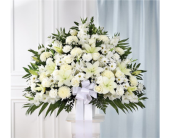 White Sympathy Standing Basket in Pittsburgh, Pennsylvania, Eiseltown Flowers & Gifts