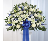 Blue & White Sympathy Standing Basket in Pittsburgh, Pennsylvania, Eiseltown Flowers & Gifts