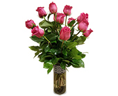 One Dozen Hot Pink Roses in Fort Worth TX, Greenwood Florist & Gifts