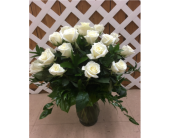 White Roses in a vase in Purcellville, Virginia, Purcellville Florist