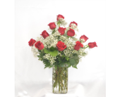 Dozen Roses with Babies Breath in Zeeland MI, Don's Flowers & Gifts