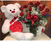 A Dozen, A Bear, and Candy in Methuen MA, Martins Flowers & Gifts