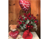 Two Dozen, A Small Bear, A Balloon, and Truffles  in Methuen MA, Martins Flowers & Gifts