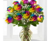 rainbow rose in vase in Toronto ON, Simply Flowers