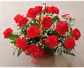 Classic Red Carnations with Babysbreath in Skowhegan, Maine, Boynton's Greenhouses, Inc.