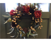 Rusty Rose and Lotus Pod Wreath in Mount Kisco NY, Hollywood Flower Shop