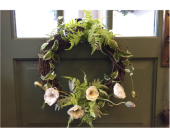Poppy, Fern and Vinca Wreath in Mount Kisco NY, Hollywood Flower Shop