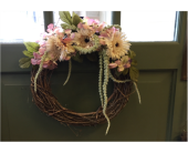 Amaranthus and Gerbera Wreath in Mount Kisco NY, Hollywood Flower Shop