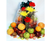 Fruit Basket with Flowers