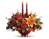 Teleflora's Autumn In Bloom Centerpiece in San Jose CA, Rosies & Posies Downtown
