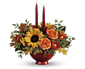Teleflora's Earthy Autumn Centerpiece in San Jose CA, Rosies & Posies Downtown