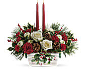 Teleflora's Halls Of Holly Centerpiece in San Clemente CA, Beach City Florist