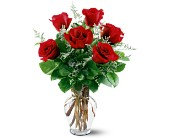 6 Red Roses in San Clemente CA, Beach City Florist