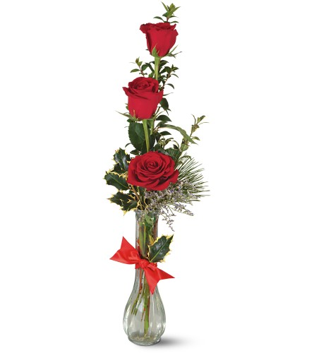 Teleflora's Rose Trio Vase in Oklahoma City OK, Array of Flowers & Gifts