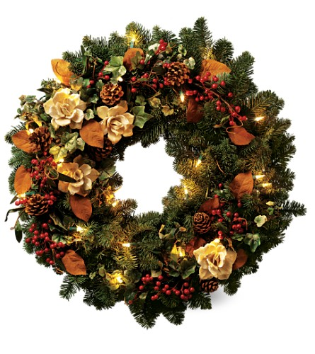 Teleflora's Lights of Christmas Wreath in Oklahoma City OK, Array of Flowers & Gifts